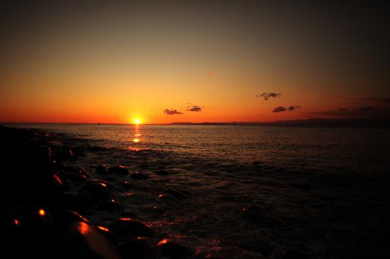 大瀬崎から見た駿河湾の夕陽